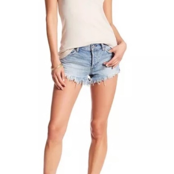 Free People Pants - FREE PEOPLE Distressed and Frayed Denim Shorts